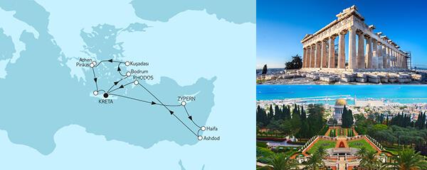 Routengrafik Griechenland mit Zypern & Bodrum