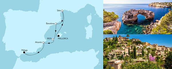Routenverlauf Mallorca bis Málaga I am 14.05.2021