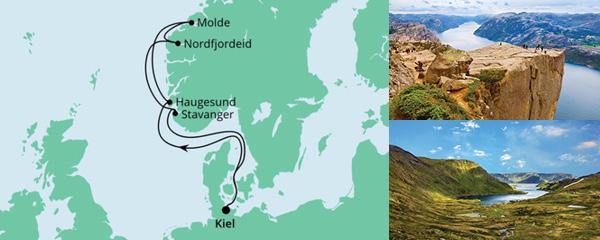 Routenverlauf Norwegen ab Kiel am 22.05.2021