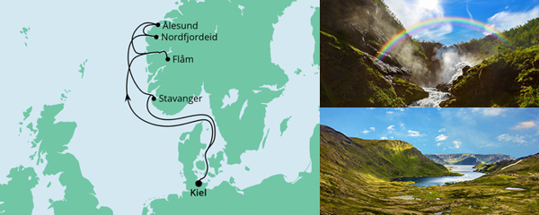 Routenverlauf Norwegen ab Kiel am 03.07.2021