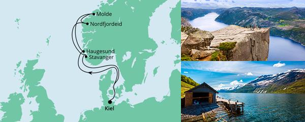 Routenverlauf Norwegen ab Kiel am 31.07.2021