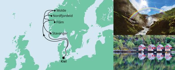 Routenverlauf Norwegen ab Kiel am 14.08.2021