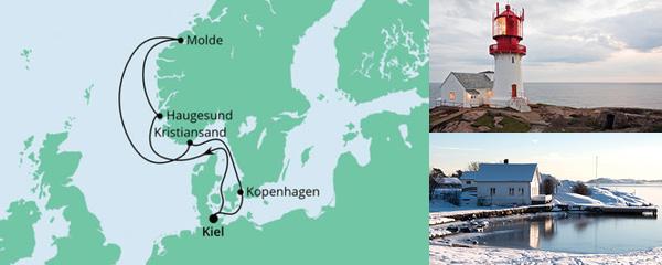 Routenverlauf Norwegen ab Kiel am 28.08.2021