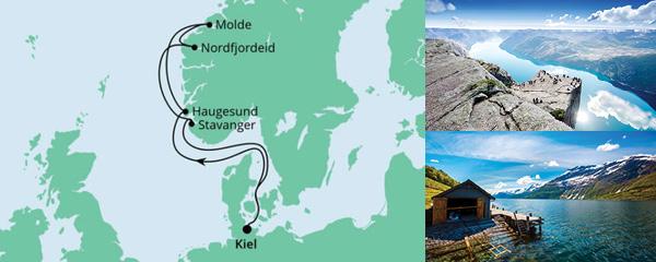 Routenverlauf Norwegen ab Kiel am 09.10.2021