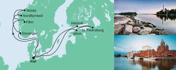 Routenverlauf Norwegen & Ostsee am 14.08.2021