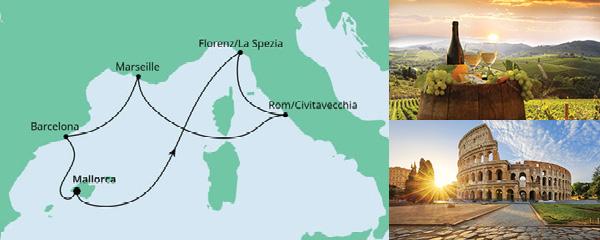 Routenverlauf Mediterrane Schätze ab Mallorca am 21.08.2021