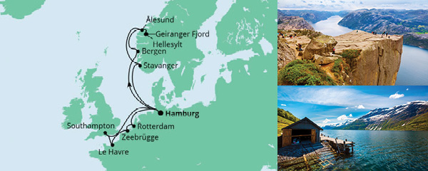 Routenverlauf Metropolen & Norwegen am 29.05.2021