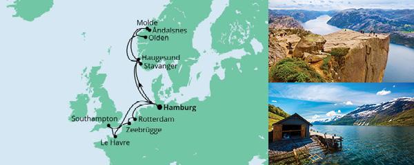Routenverlauf Metropolen & Norwegen am 10.07.2021
