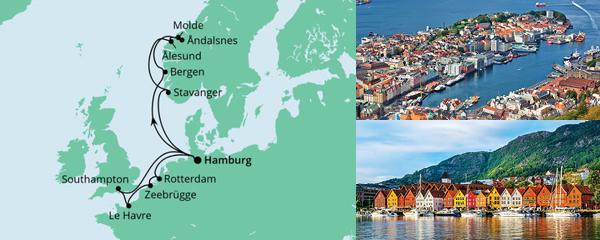 Routenverlauf Metropolen & Norwegen am 07.08.2021