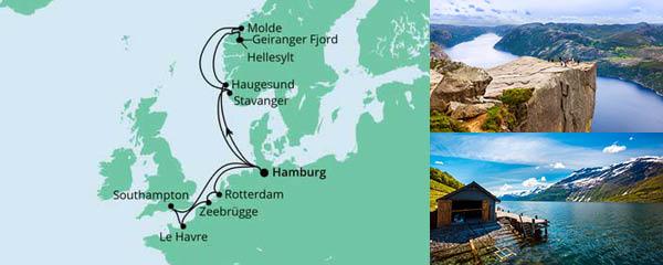 Routenverlauf Metropolen & Norwegen am 09.07.2022