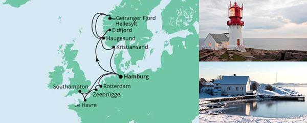 Routenverlauf Metropolen & Norwegen am 23.07.2022