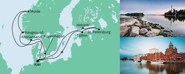 Routenverlauf Norwegen & Ostsee am 21.08.2021