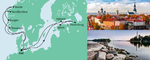 Routenverlauf Norwegen & Ostsee am 18.09.2021