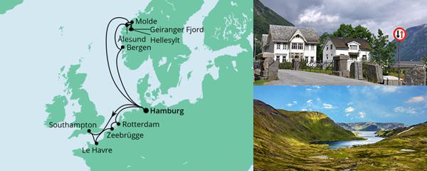 Routenverlauf Metropolen & Norwegen am 19.06.2021