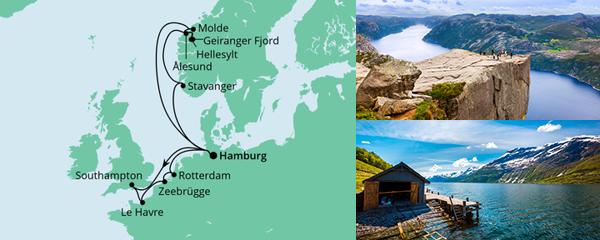 Routenverlauf Metropolen & Norwegen am 17.07.2021