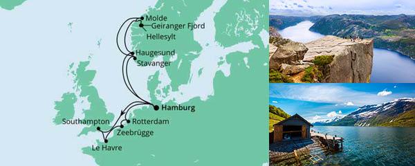Routenverlauf Metropolen & Norwegen am 18.06.2022