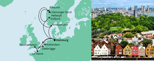 Routenverlauf Metropolen & Norwegen am 16.07.2022