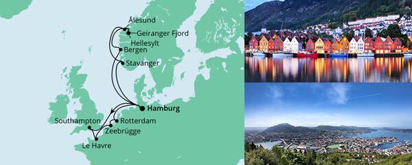 Routenverlauf Metropolen & Norwegen am 09.10.2021