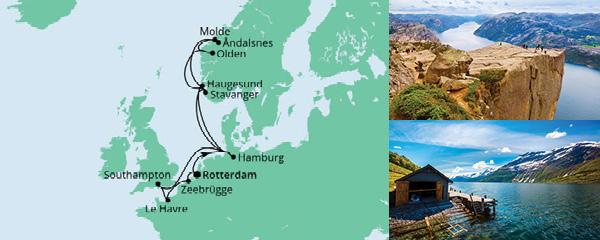 Routenverlauf Metropolen & Norwegen ab Rotterdam am 08.07.2021