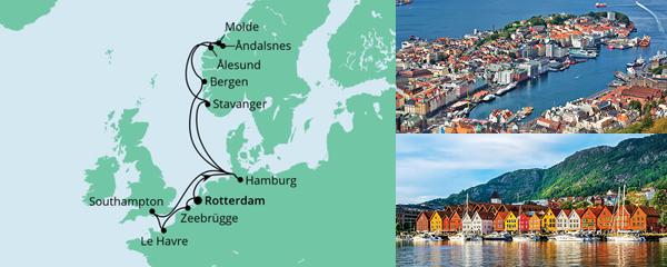 Routenverlauf Metropolen & Norwegen ab Rotterdam am 05.08.2021