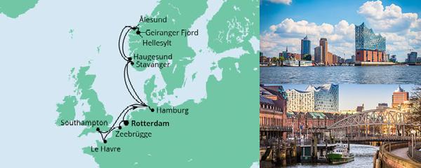 Routenverlauf Metropolen & Norwegen ab Rotterdam am 02.09.2021