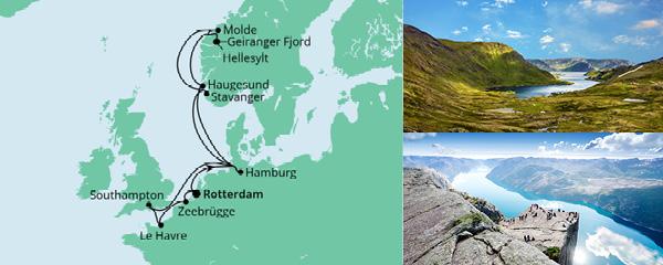 Routenverlauf Metropolen & Norwegen ab Rotterdam am 16.09.2021