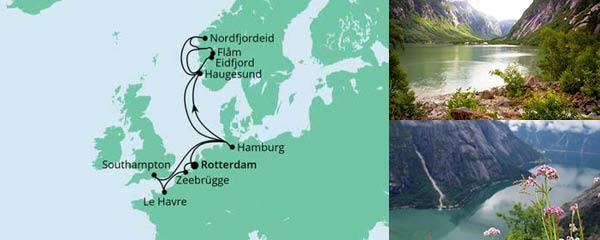 Routenverlauf Metropolen & Norwegen ab Rotterdam am 26.05.2022