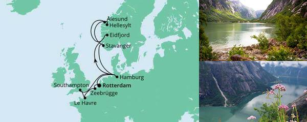 Routenverlauf Metropolen & Norwegen ab Rotterdam am 09.06.2022