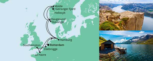 Routenverlauf Metropolen & Norwegen ab Rotterdam am 23.06.2022