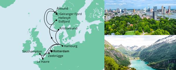 Routenverlauf Metropolen & Norwegen ab Rotterdam am 21.07.2022