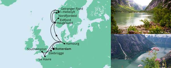 Routenverlauf Metropolen & Norwegen ab Rotterdam am 15.09.2022
