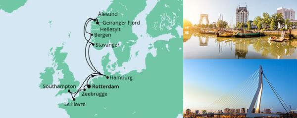 Routenverlauf Metropolen & Norwegen ab Rotterdam am 13.10.2022