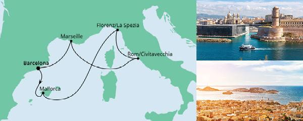 Routenverlauf Mediterrane Schätze ab Barcelona am 20.08.2021