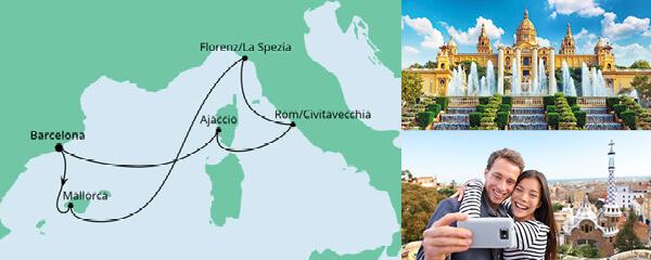Routenverlauf Mediterrane Schätze ab Barcelona am 20.05.2022