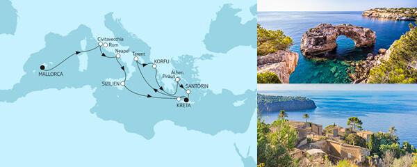 Routenverlauf Mittelmeer mit Korfu am 04.06.2021
