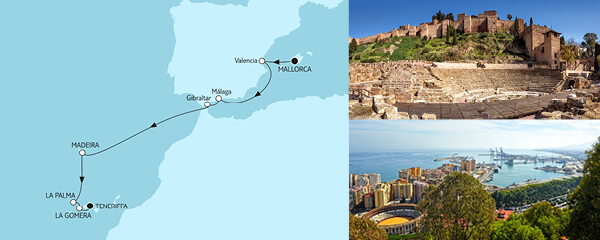 Routenverlauf Mallorca bis Teneriffa am 25.10.2021