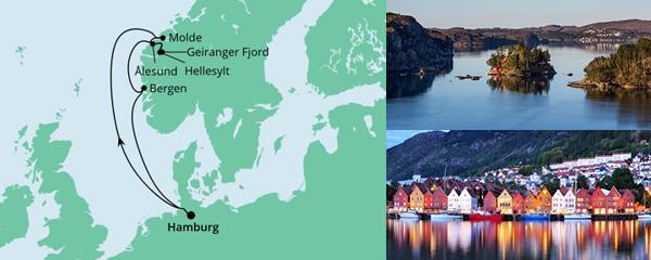Routenverlauf Norwegen ab Hamburg am 26.06.2021