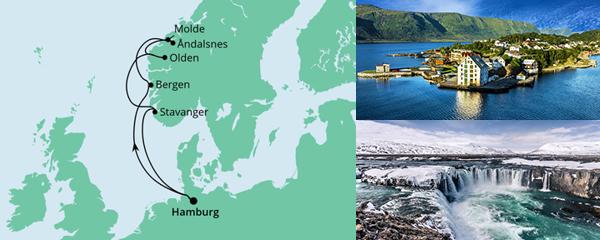 Routenverlauf Norwegen ab Hamburg am 10.07.2021