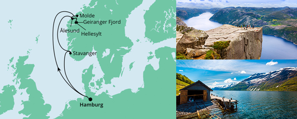 Routenverlauf Norwegen ab Hamburg am 24.07.2021