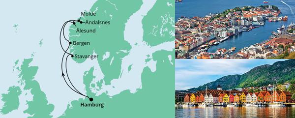 Routenverlauf Norwegen ab Hamburg am 07.08.2021