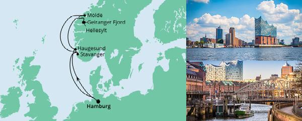Routenverlauf Norwegen ab Hamburg am 18.09.2021