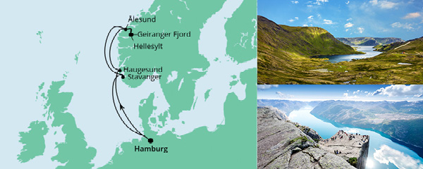 Routenverlauf Norwegen ab Hamburg am 02.10.2021