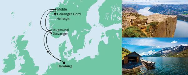 Routenverlauf Norwegen ab Hamburg am 09.07.2022