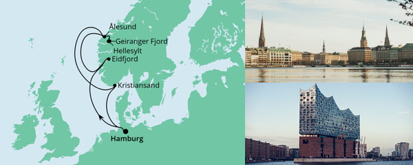 Routenverlauf Norwegen ab Hamburg am 23.07.2022
