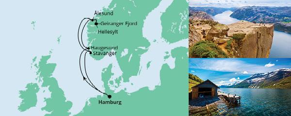 Routenverlauf Norwegen ab Hamburg am 06.08.2022