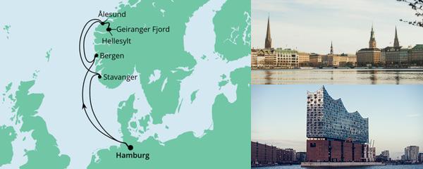 Routenverlauf Norwegen ab Hamburg am 20.08.2022