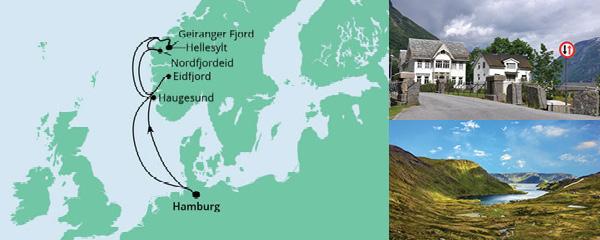 Routenverlauf Norwegen ab Hamburg am 17.09.2022