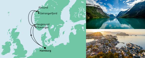 Routenverlauf Norwegen ab Hamburg am 15.10.2022