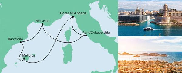 Routenverlauf Mediterrane Schätze ab La Spezia am 23.08.2021