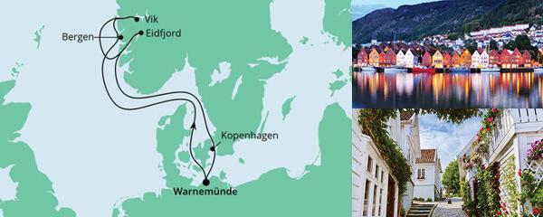 Routenverlauf Norwegens Fjorde ab Warnemünde am 26.06.2021